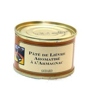 Armagnacilla maustettu jänispatee